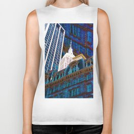 New York City Up Is Down Down Is Up Blue Biker Tank