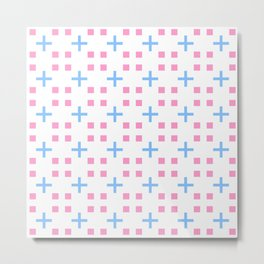 square and greek cross 1 - blue and pink Metal Print