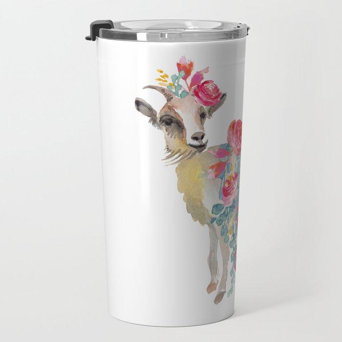 goat with flower crown Travel Mug