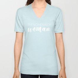 Phenomenally Woman (white) Unisex V-Neck