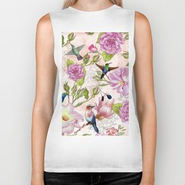 Vintage Roses and Hummingbird Pattern Biker Tank