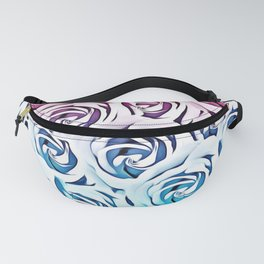 blooming rose pattern texture abstract background in pink and blue Fanny Pack