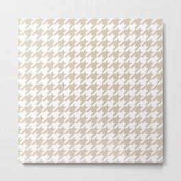 Houndstooth: Beige & White Checkered Design Metal Print