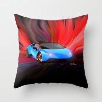 lamborghini Throw Pillows featuring Lamborghini Huracán by JT Digital Art