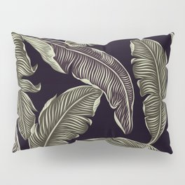 palm leaves black Pillow Sham