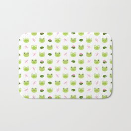 Frogs, Dragonflies and Lilypads on White Bath Mat