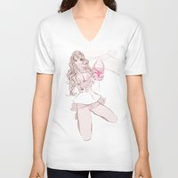 champagne V-neck T-shirts featuring CAPRI CHAMPAGNE by Chandelina