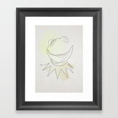 One Line Kermit the Frog Framed Art Print