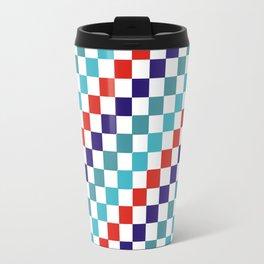 Gridded Red Tale Blue Pattern Travel Mug