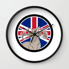 Red Deer Union Jack Flag Icon Wall Clock