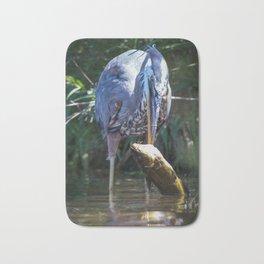 A Great Blue Heron Kills Huge Fish Bath Mat