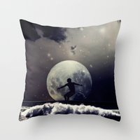 surfer Throw Pillows featuring Surfer by Monika Strigel