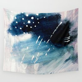 Meteor Shower - an abstract acrylic piece in blue and white Wall Tapestry