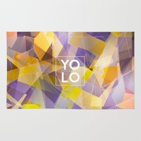 sayings Area & Throw Rugs featuring Dreams of YOLO Vol.1 by HappyMelvin