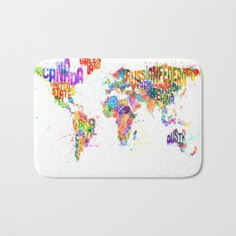 Paint Splashes Typography Text World Map Bath Mat