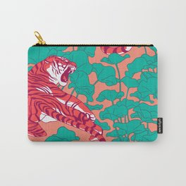Scarlet tigers on lotus flower field. Carry-All Pouch