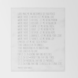Prayer of Saint Francis #minimalism #prayerofpeace Decke