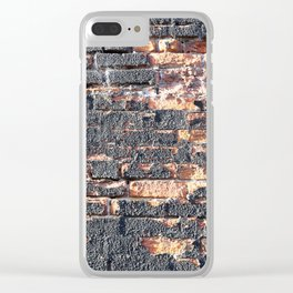 black orange urban worn damaged brick wall photo texture Clear iPhone Case