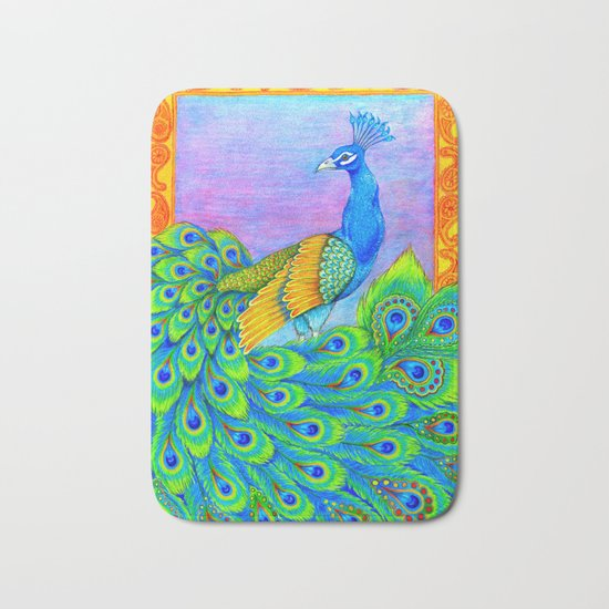 Paisley Peacock Pastels Bath Mat
