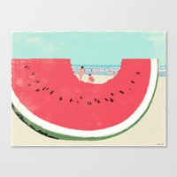 watermelon Canvas Prints featuring Watermelon by Tatsuro Kiuchi