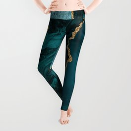 Crushed Green Velvet, Teal And Aqua Marble Leggings