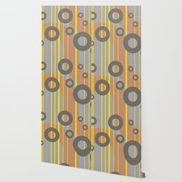 Rings and Lines in Yellow grey orange Colors Wallpaper