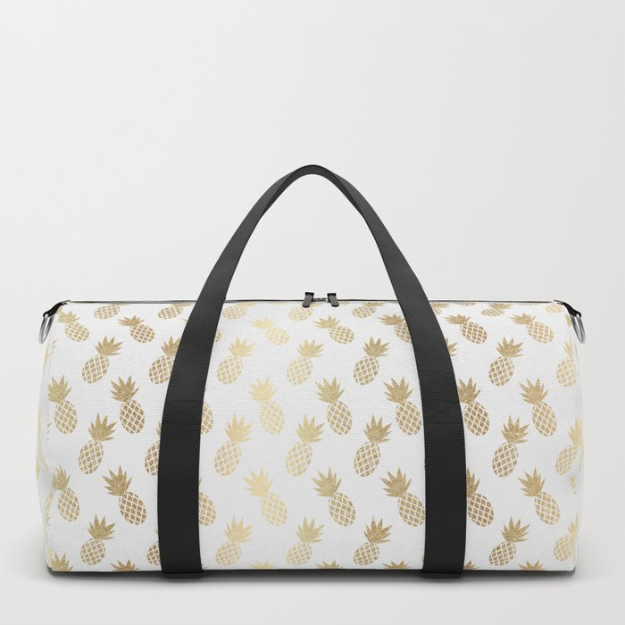 Gold Pineapple Pattern Duffle Bag