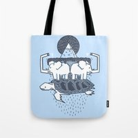 discworld Tote Bags featuring The Flat Earth by Lucas Scialabba :: Palitosci