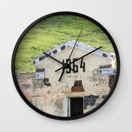 1964. Buildings of the old abandoned mercury mine Aktash. Altai Mountains, Siberia, Russia. Wall Clock