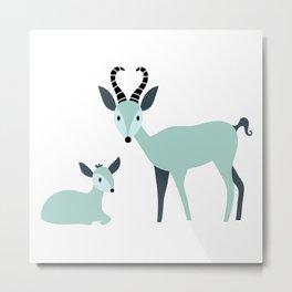 A Herd of Antelope | Green and Grey Metal Print