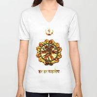 shiva V-neck T-shirts featuring Shiva  by Khana's Web