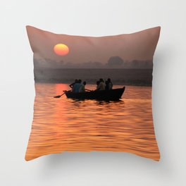 Rowing Boat on the Ganges at Sunrise Throw Pillow