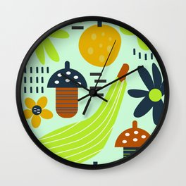 Colorful veggies and flowers Wall Clock