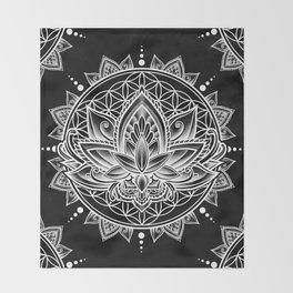 Lotus Mandala - Black Throw Blanket
