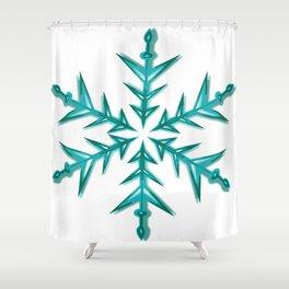 Minimalistic Aquamarine Snowflake Shower Curtain