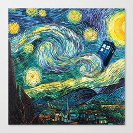 Tardis Art Starry Painting Night Canvas Print