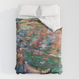 John Peter Russell - Breton woman on a cliff top, Belle-Ile - Digital Remastered Edition Duvet Cover