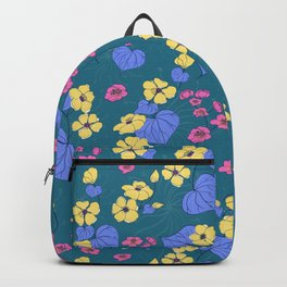 Yellow and pink floral pattern Backpack