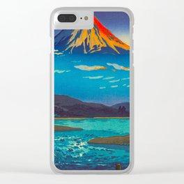 Tsuchiya Koitsu Tokaido Fujikawa Japanese Woodblock Print Sunset Colorful Hues Mountain Landscape Clear iPhone Case