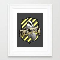 hufflepuff Framed Art Prints featuring Hufflepuff Crest by AriesNamarie