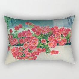 Painterly Summer Floral Coral Red Million Bells in Beachy Window Box Rectangular Pillow