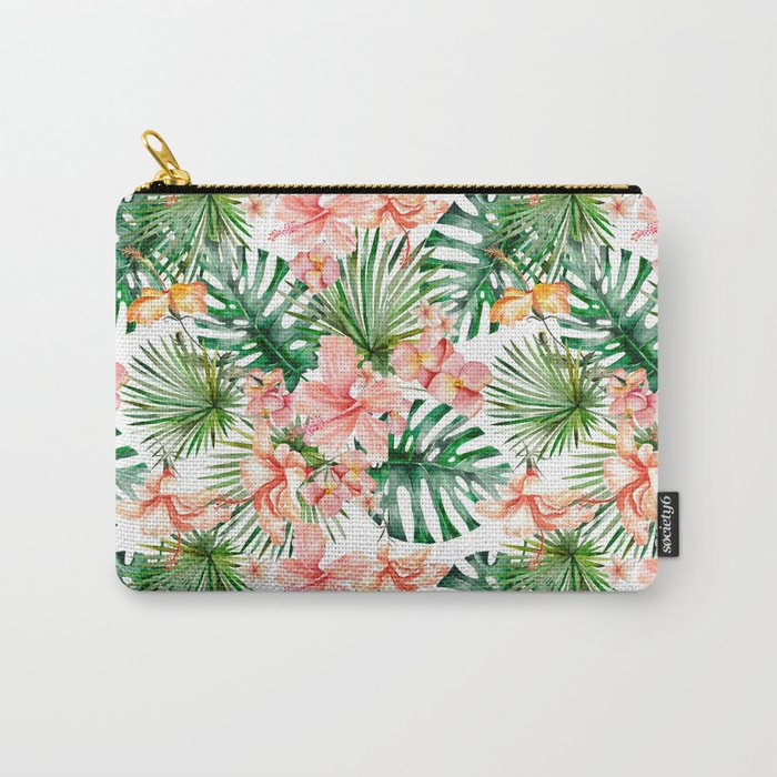 Tropical Jungle Hibiscus Flowers - Floral Carry-All Pouch