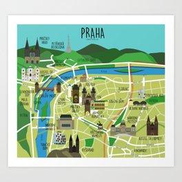 Prague map illustrated Art Print
