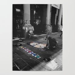 Street Bologna Artist Black and White Photography Poster