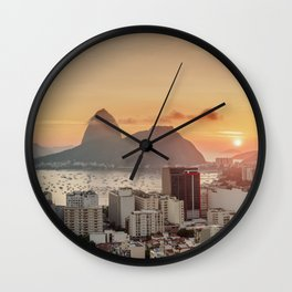 View over Botafogo towards the Sugarloaf Mountain at sunrise, Rio de Janeiro, Brazil Wall Clock