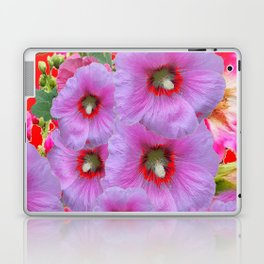 LILAC HOLLYHOCKS WITH RED COLOR ACCENTS Laptop & iPad Skin