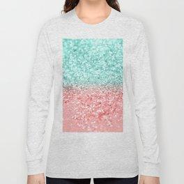 Summer Vibes Glitter #1 #coral #mint #shiny #decor #art #society6 Long Sleeve T-shirt