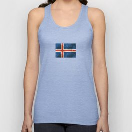Vintage Aged and Scratched Icelandic Flag Unisex Tank Top