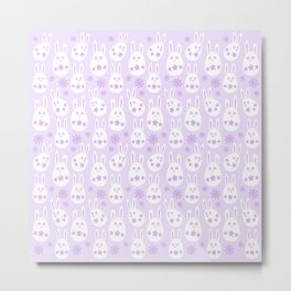 Easter Egg Bunny Pattern - Lilac Metal Print