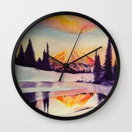 Winter Wonderland in Mount Rainer Wall Clock